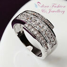 18K White Gold Plated Simulated Diamond Tree Crossover Studded Band Ring