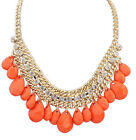Bohemia Colorful Tear-drop Resin Shine Crystal Mixed 3Layers Bubble Bib Necklace