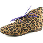 Women Flat Oxford Ankle Booties Lace Up Round Toe Leopard With Purple Shoe Lace