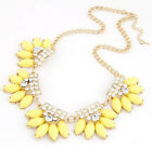 New Arrival Crystal Water-drop Resin Petal Sweet Bib Fan Spike Necklace Chunky