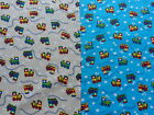 TRAINS 100% Cotton Fabric Material by the METRE childrens print Blue & Cream