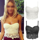 Sexy Floral Lace Bustier Top Bralet Strapless Bodycon Crop Top Party Corset Bra