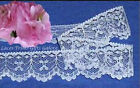 "12/24 Yards White Lace Trim 1-1/8"" Scalloped Bows N91V Buy More-Ship No Charge"