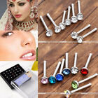 24Pc 20Ga Assorted Crystal Stainless Steel Nose Ring Studs Body Piercing Jewelry