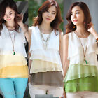 New Womens Sleeveless Double Layer Chiffon Tank Tops Vest Blouses Tiered T-Shirt