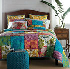 King Size Country Floral Patchwork Quilted Cotton Coverlet Bedspread Quilt Set