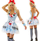 Sexy Ladies Fairy Tale Alice in Wonderland Fancy Dress Costume Outfit US 6 -14
