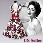 New Women's 50s Party Bridesmaid Prom Rockabilly Pinup Halter Swing Dress