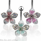 Tropical Flower Gem Belly Ring Navel Naval Pink, Green, Purple, Red