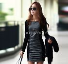 Winter Women's Elegant Chic Long Sleeve Stitching Spell Color Dress HUK
