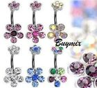 Double Flower Belly, Navel Bar Crystal, Gem Ring Piercing New in Gift Bag