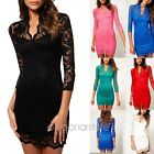 Womens Sexy Lace V-neck Floral Bodycon Mini Prom Cocktail Party Evening Dress