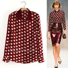 Womens Sweet Hearts Love Printed Long Sleeve Chiffon Satin Casual Blouse T Shirt