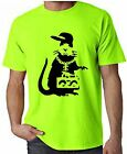 BANKSY GANGSTER RAT NEON T-SHIRT - Choice Of Colours - Sizes S-XXL FREE P&P