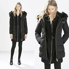 ZARA NEW COLLECTION 2014. BLACK LONG PARKA JACKET COAT WITH FUR COLLAR.