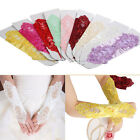 Bride Wedding Bridal Gloves Fingerless Pearl Lace Satin  Party Dress Costume