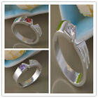 Three Colors Women Noble Classy Jewelry Silver-plated Ring US Size 8 Hot