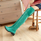 New Womens Girls Motorcycle Faux Suede Low Heels Winter Over The Knee Thigh Boot