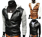 CLEARANCE FAST New men PU leather jacket motorcycle Coats Hoody Hooded Outerwear