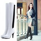 Womens Ladies  Sexy Genuine Cow Leather Slim Fit High Heel Over The Knee Boots