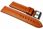 Buffalo Grained Leather Strap, Contrast stitching. Tan. 18mm, 20mm, 22mm