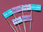 20 EAT ME VINTAGE UNION JACK CUPCAKE FLAGS TOPPERS BIRTHDAY PARTY FOOD PICKS