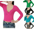 5 Color Sexy Club Night Elastic Deep V Neck Short Knit Sweater Blouse Top XS TBN