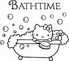 Bathtime with Kitty Sign a Vinyl Wall Art Sticker Bathroom kids toddlers