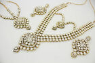 LONG KUNDAN STONES BRIDAL NECKLACE EARRINGS MATHA PATTI SET BOLLYWOOD INDIAN