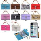 Bling Pearl Wristlet Three Folds PU Wallet Flip Case Cover For iPhone 5 5G 5S