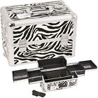Sunrise Zebra 4 Sliding Tray Makeup Case Organizer Upgradable Cosmetic Kit E3301