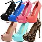 Women Sexy Party Ankle Strap Peep Toe Dress Casual High Heel Stilettos Pump Shoe