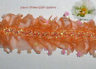 "5/10 Yards Orange Trim Lace Ruffled 2"" Costume Dance R00V More Ships No Charge"