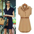 Vogue Women Cap Sleeve Stretch Chiffon Casual OL Belt Shirt Mini Dress S M L XL