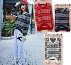 Fashion Women Flower Round Neck Long Sleeves Sweater Knitwear 4 Colors HUK