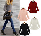 Fashion Womens Retro Crewneck Flouncing Peplum Sweaters Knitwear Pullover HUK