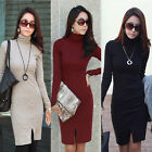 Office Ladies Dress Slim Fit Long Sleeve Turtle Neck Women Knit Sweater Dresses