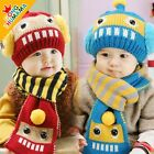3483 Winter Robot Baby Toddler Boy Girl Kids Warm Hat Cap + Scarf  6Month--3Year