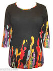 New Ulla Popken Black Plus Size Top 14 18 20 22 Flame Cotton Stretch Tunic
