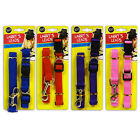 NEW PET DOG PUPPY MATCHING COLLAR AND LEAD SET LEASH ADJUSTABLE 4 COLOURS