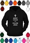 **KEEP CALM AND FOLLOW JESUS ** custom printed hoody. CHOICE OF COLOURS
