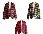 Women Ladies full Sleeve Check Tartan Print Open Pocket Front Blazer Jacket Top