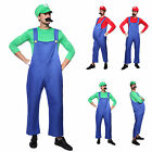 Mens Super Mario Brothers Costumes Mario Costume Hat Moustache Fancy Dress Party