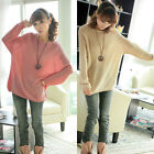 New Womens Batwing Round Neck Knitted Pullover Jumper Casual Loose Long Sweater