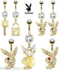 14k Gold Plated Playboy Bunny Belly Ring Pierced Navel Naval Sexy