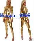 NEW SUIT GOLD SHINY METALLIC SEXY BODY CATSUIT COSTUMES~With Long Zipper #X334