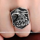 1pc Mens Punk Stainless Steel Wild Eagle Head Biker Finger Ring Jewelry Gift