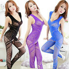 Sexy Women Siamese Netting Catsuit Open Crotch Netting Lingerie 7 Color K045