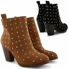 NEW LADIES FAUX SUEDE BLOCK HEEL ZIP UP CHELSEA ANKLE COWBOY BOOTS SHOES UK SIZE