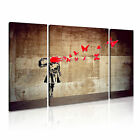 BANKSY Butterfly Suicide 1 Canvas 3B Framed Printed Wall Art ~ 3 Panels